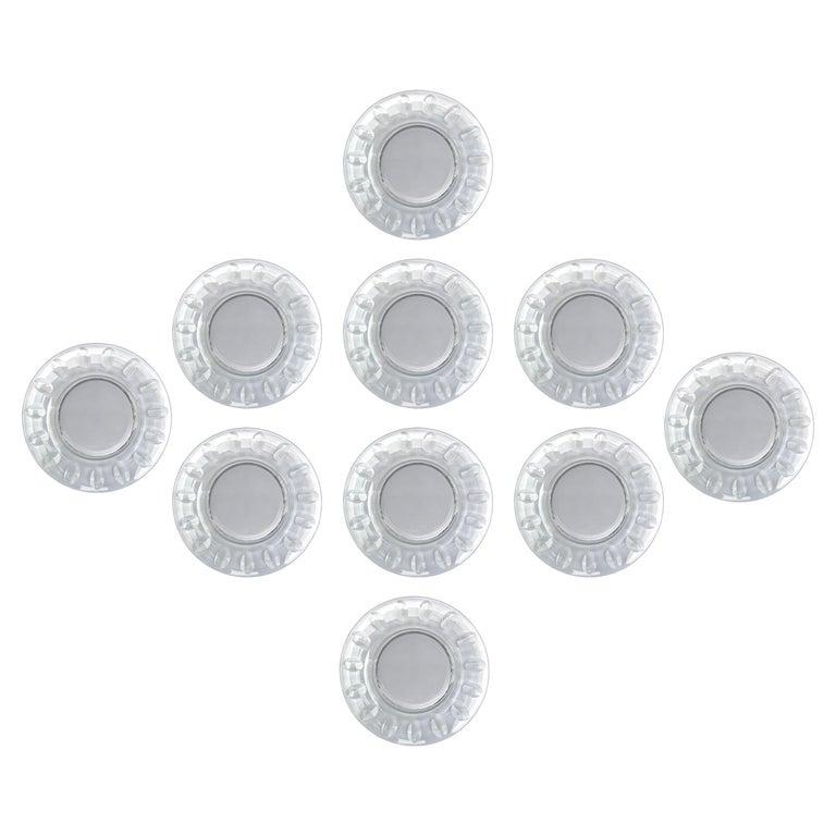 Set of Ten Dutch Cut Crystal Plates For Sale