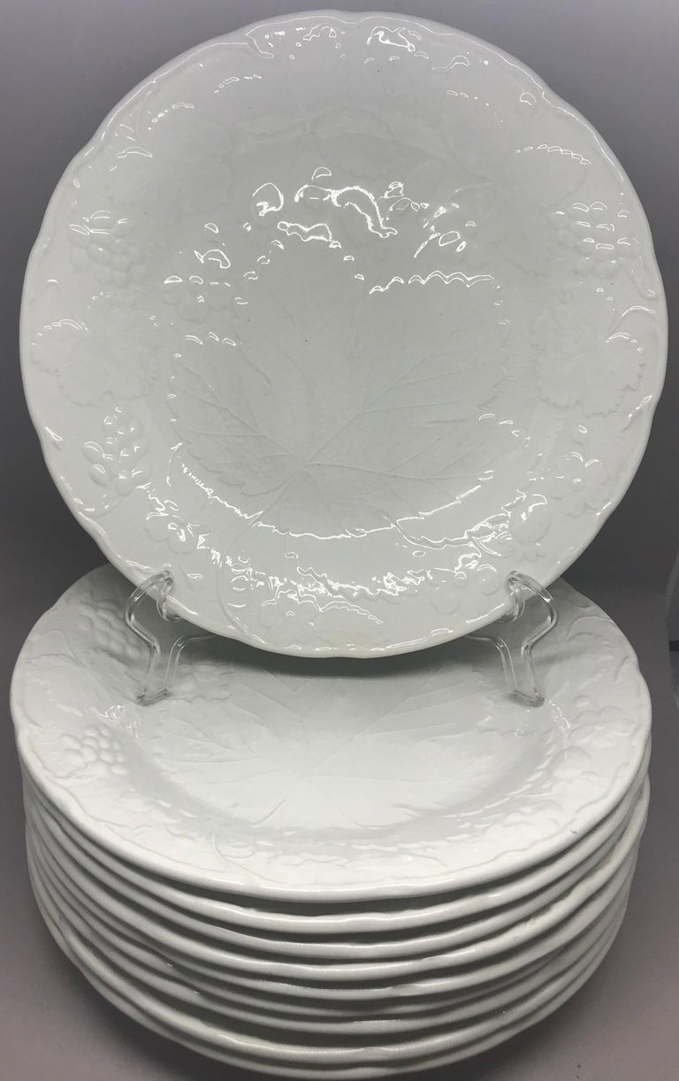 English Set of Ten Each White Strawberry Leaf Dinner and Lunch/Dessert Plates For Sale
