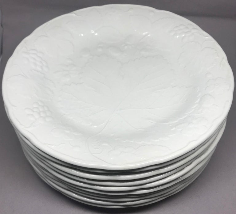 Embossed Set of Ten Each White Strawberry Leaf Dinner and Lunch/Dessert Plates For Sale