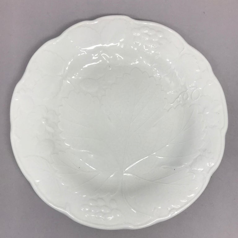 Set of Ten Each White Strawberry Leaf Dinner and Lunch/Dessert Plates In Good Condition For Sale In New York, NY