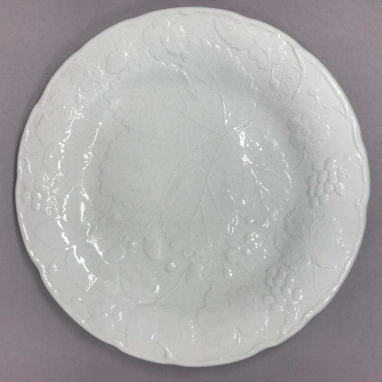 20th Century Set of Ten Each White Strawberry Leaf Dinner and Lunch/Dessert Plates For Sale