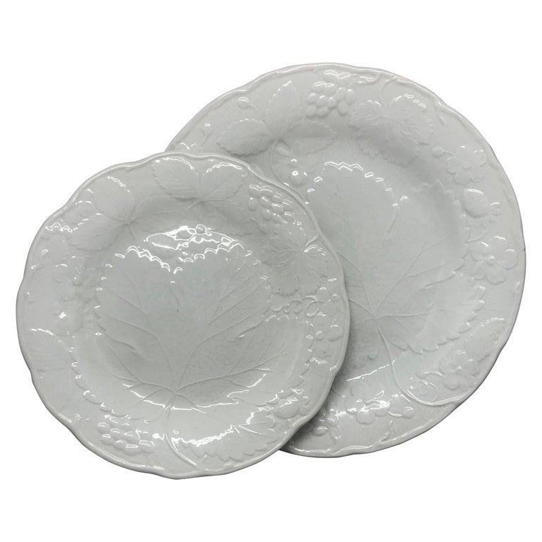 Set of Ten Each White Strawberry Leaf Dinner and Lunch/Dessert Plates For Sale