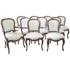 Set of Ten Early 20th Century Louis XV Style Dining Chairs in White Leather