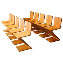Set of Ten Early 'Zig Zag' Chairs by Gerrit Rietveld for Cassina, 1973, Signed