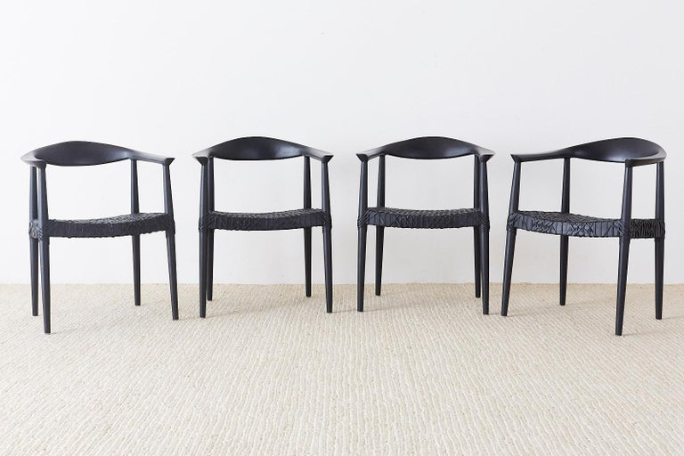 Set of Ten Ebonized Teak Round Chairs After Hans Wegner In Good Condition In Oakland, CA