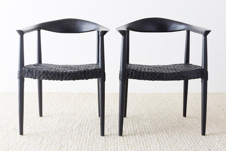 Set of Ten Ebonized Teak Round Chairs After Hans Wegner 1