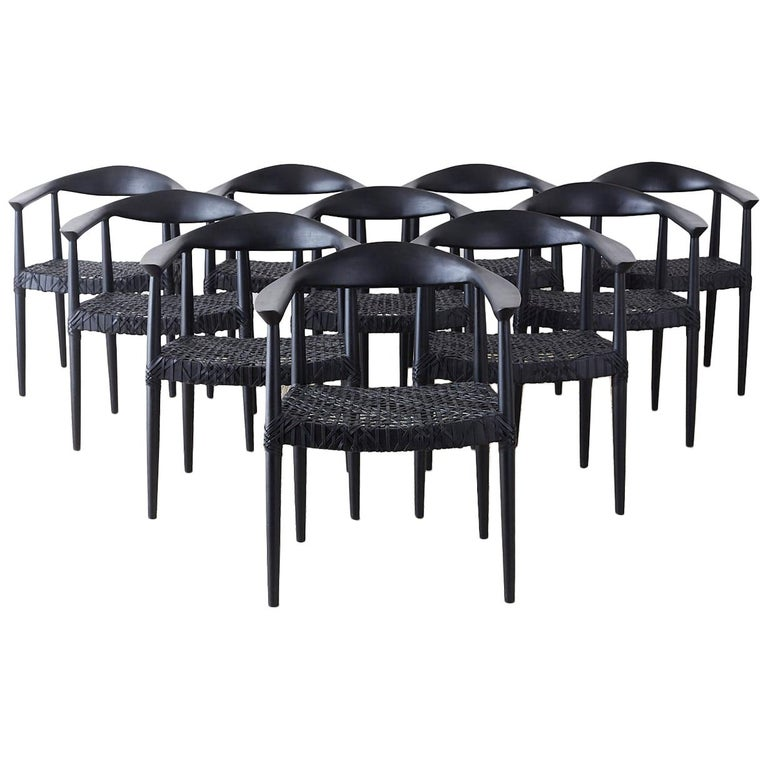 Set of Ten Ebonized Teak Round Chairs After Hans Wegner