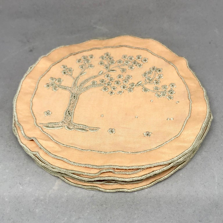 English Set of Ten Embroidered Tree of Life Coasters For Sale