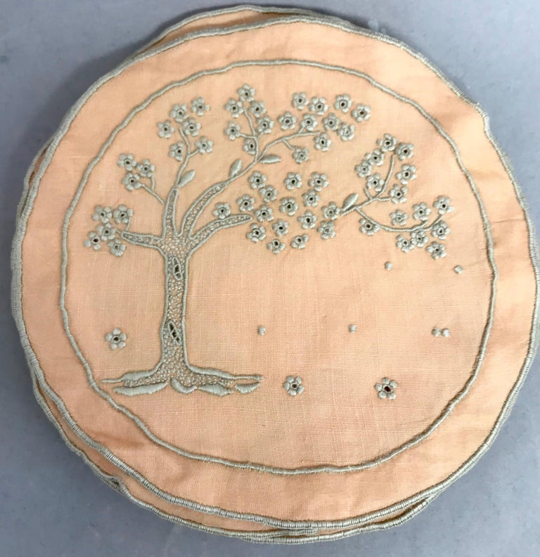 Set of Ten Embroidered Tree of Life Coasters In Good Condition For Sale In New York, NY