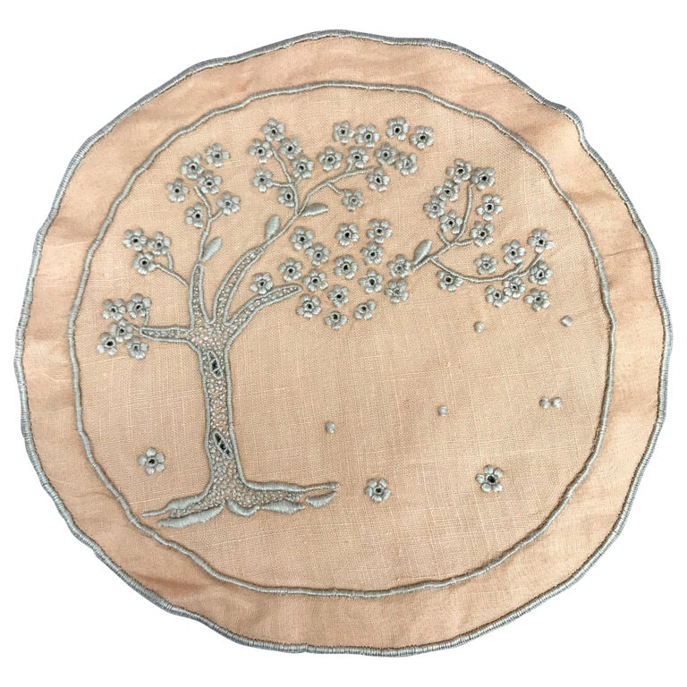 Set of Ten Embroidered Tree of Life Coasters For Sale