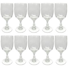 Set of Ten English Cut Crystal Wine Glasses