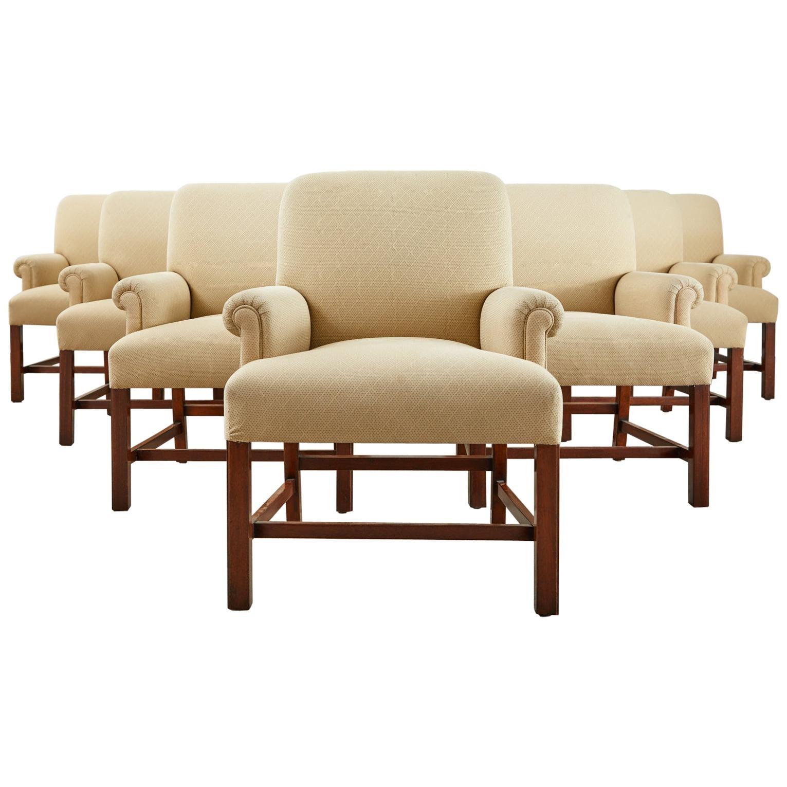 Set of Ten English Georgian Style Dining Armchairs