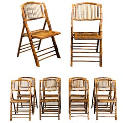 Set of Ten English Midcentury Bamboo Folding Side Chairs with Slatted Backs