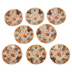 Set of Ten Antique English Plates with Imari Inspired Decoration Made ca. 1820