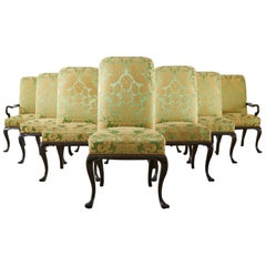 Set of Ten English Regency Dining Chairs Fortuny Style Upholstery