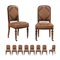 Set of Ten English Carved Wood & Upholstered Dining Chairs, Early 20th C.