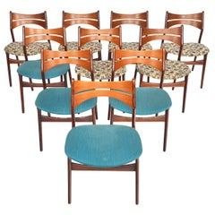 Set of Ten Erik Buch Model 310 Danish Modern Dining Chairs in Teak