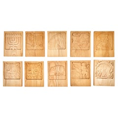 Set of Ten Evelyn Ackerman Carved Oak Panels