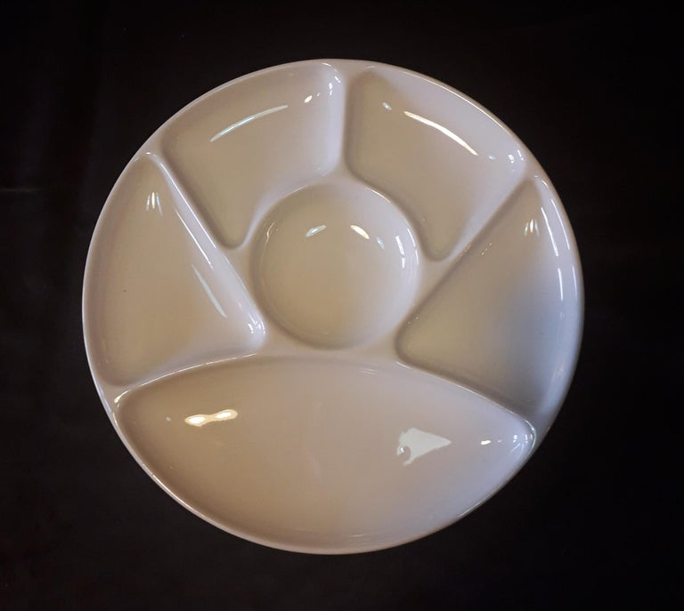French Set of Ten Faience Fondue White Diner Plates Dishes, by Gien, France