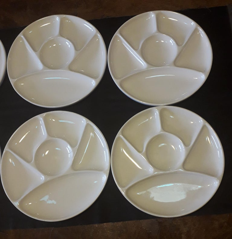 Enameled Set of Ten Faience Fondue White Diner Plates Dishes, by Gien, France