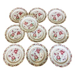 Set of Ten Famille Rose Chinese Export Plates, circa 1760