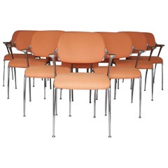 """Set of Ten Francesco Zaccone for Brunner """"Golf"""" Dining Chairs, Germany, 1970s"""