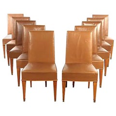 Set of Ten French 1940s Leather Upholstered Dining Chairs