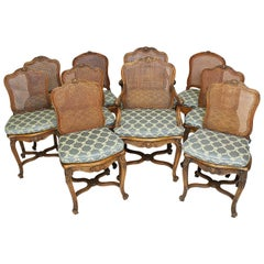 Set of Ten French 19th-20th Century Provincial Style Carved Walnut Dining Chair
