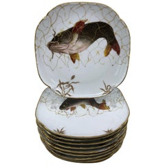 Set of Ten Limoges French Aesthetic Movement Fish Plates and Platter