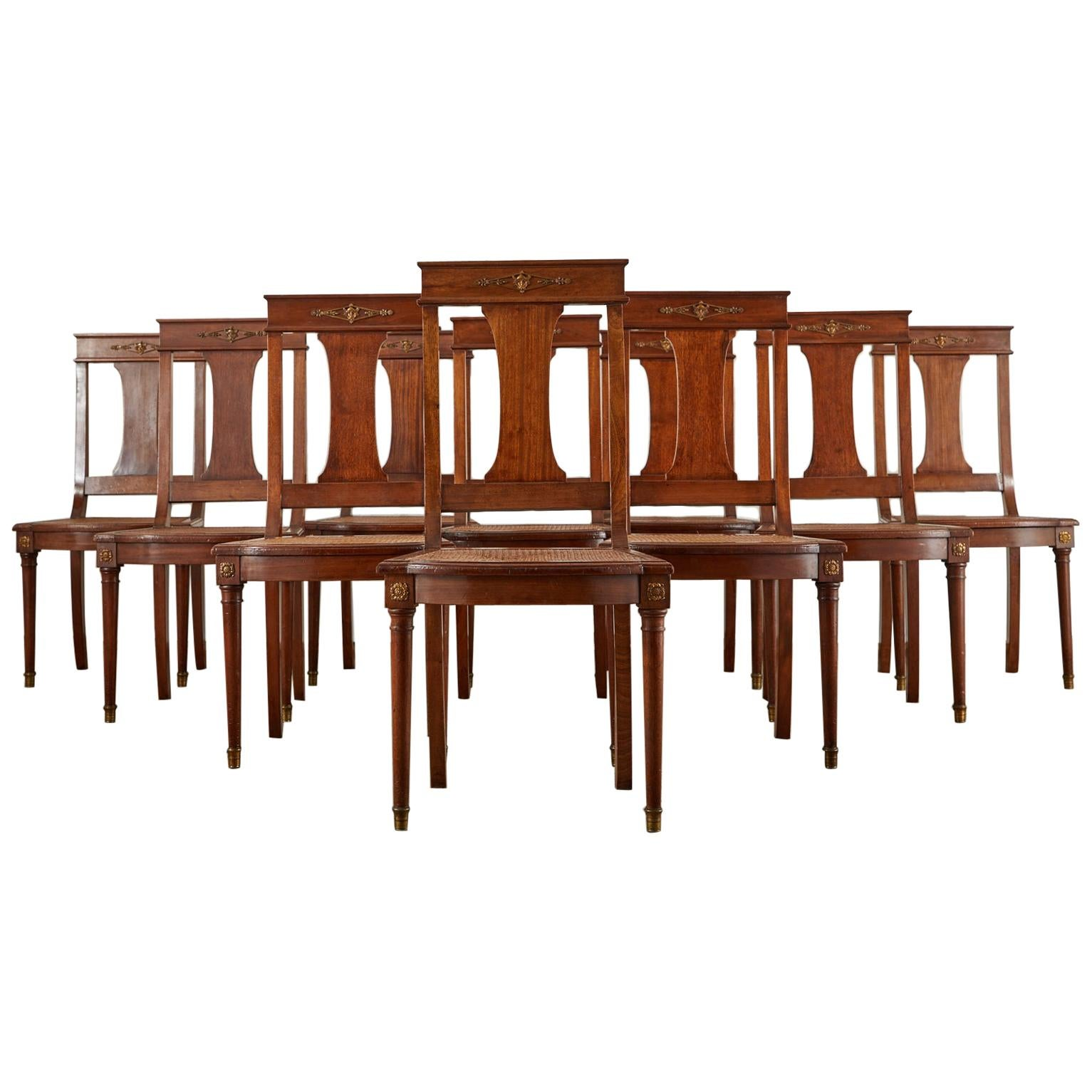 Set of Ten French Empire Mahogany Caned Dining Chairs