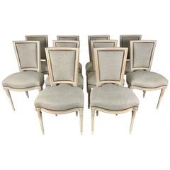 Set of Ten French Louis XVI Style Dining Chairs
