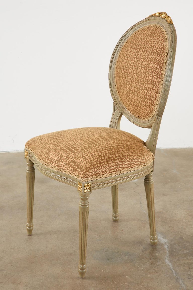 Set of Ten French Louis XVI Style Lacquered Dining Chairs For Sale 6