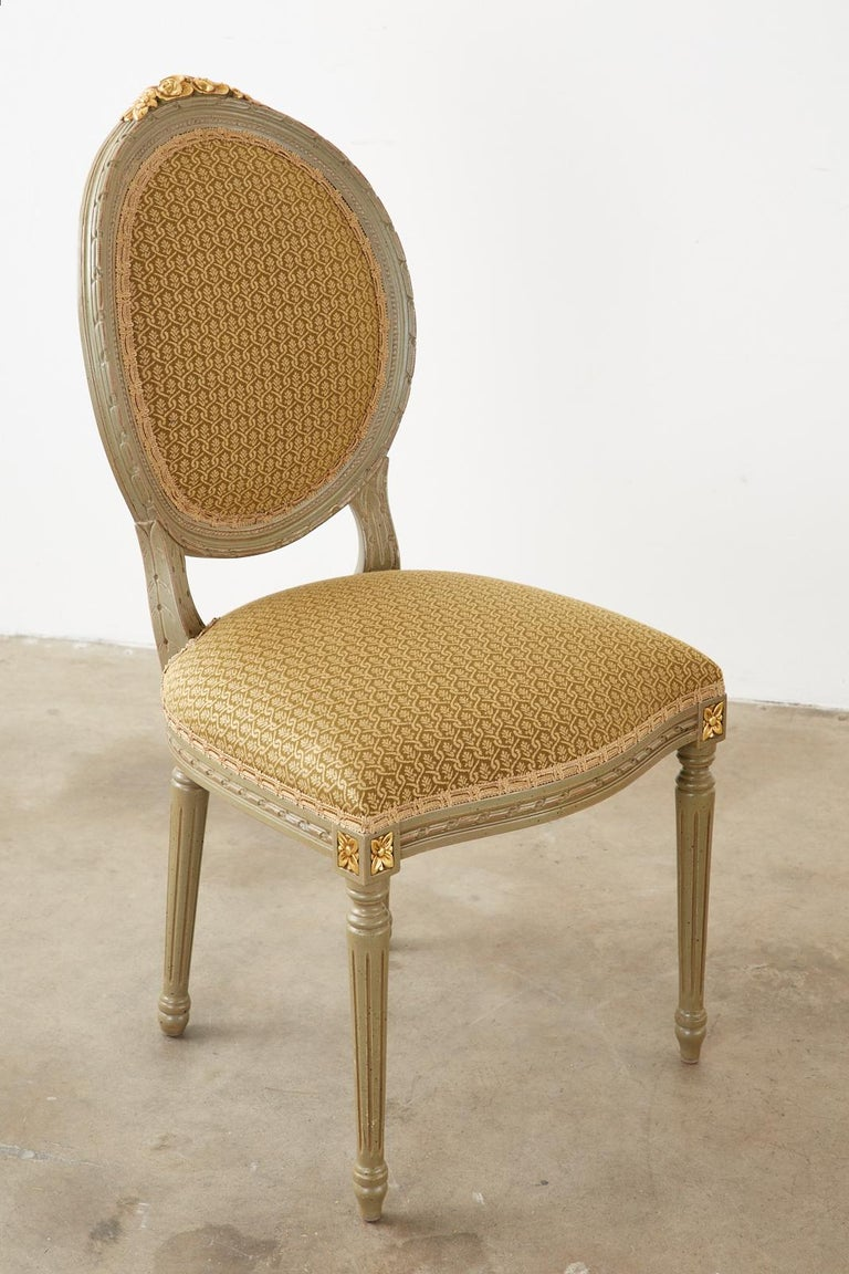 Set of Ten French Louis XVI Style Lacquered Dining Chairs For Sale 7