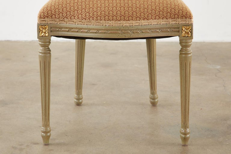 Set of Ten French Louis XVI Style Lacquered Dining Chairs For Sale 9
