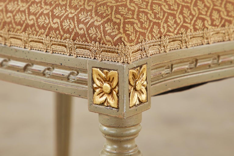 Set of Ten French Louis XVI Style Lacquered Dining Chairs For Sale 13