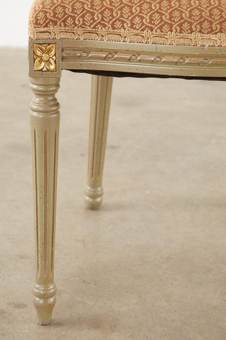 Set of Ten French Louis XVI Style Lacquered Dining Chairs For Sale 14