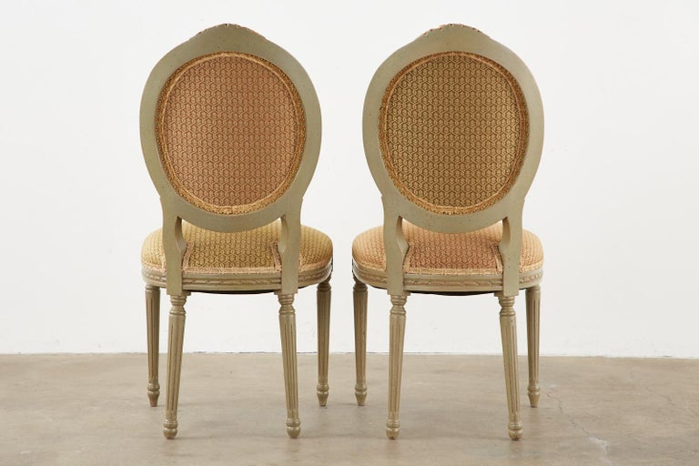 Set of Ten French Louis XVI Style Lacquered Dining Chairs For Sale 15
