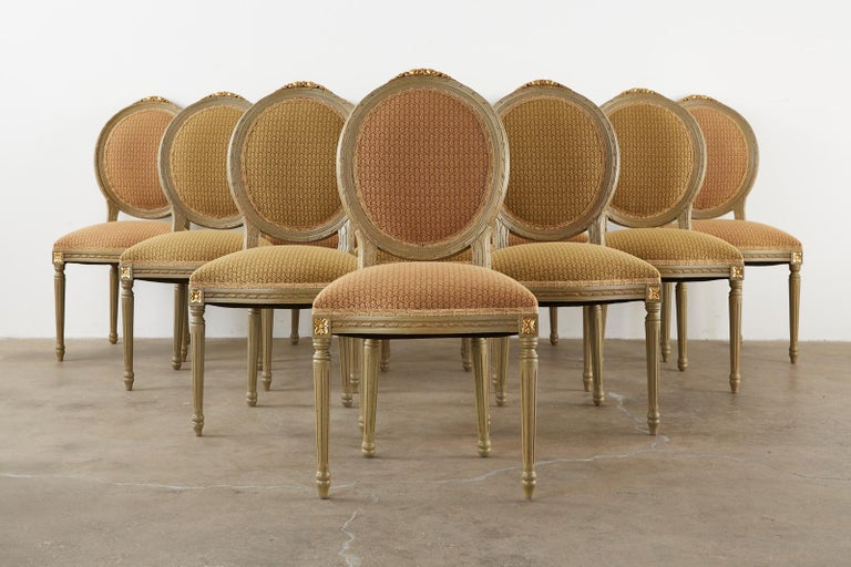 Set of Ten French Louis XVI Style Lacquered Dining Chairs In Good Condition For Sale In Rio Vista, CA