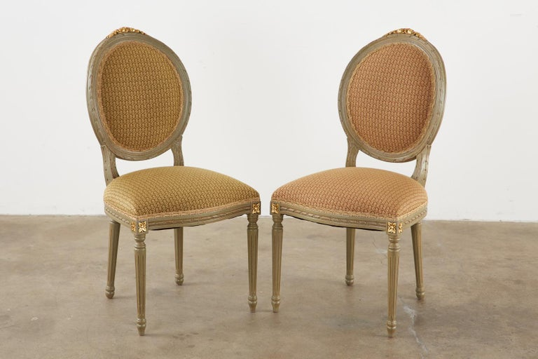 Set of Ten French Louis XVI Style Lacquered Dining Chairs For Sale 1