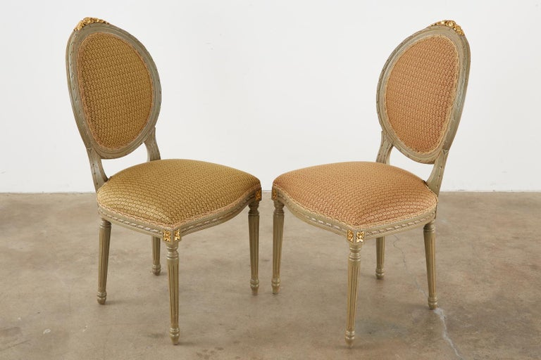 Set of Ten French Louis XVI Style Lacquered Dining Chairs For Sale 2