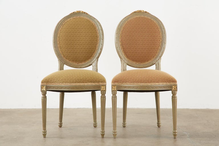 Set of Ten French Louis XVI Style Lacquered Dining Chairs For Sale 3