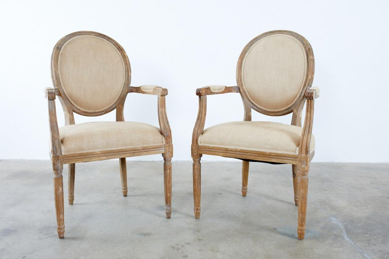 Set of Ten French Louis XVI Style Oak Dining Chairs For Sale 4