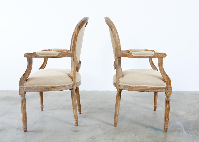 Set of Ten French Louis XVI Style Oak Dining Chairs For Sale 5