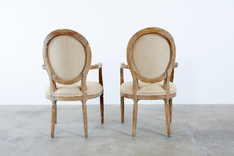 Set of Ten French Louis XVI Style Oak Dining Chairs For Sale 6