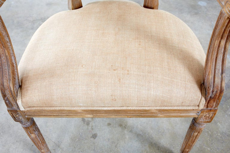 Set of Ten French Louis XVI Style Oak Dining Chairs For Sale 7