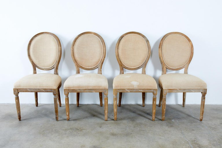 Set of Ten French Louis XVI Style Oak Dining Chairs For Sale 9