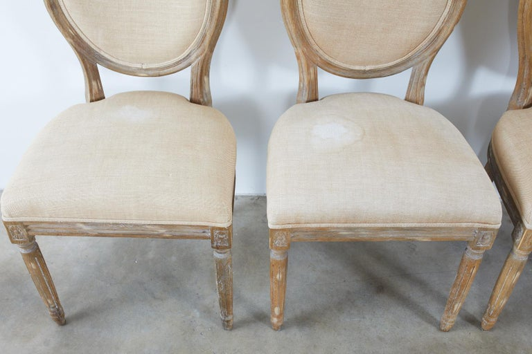 Set of Ten French Louis XVI Style Oak Dining Chairs For Sale 10