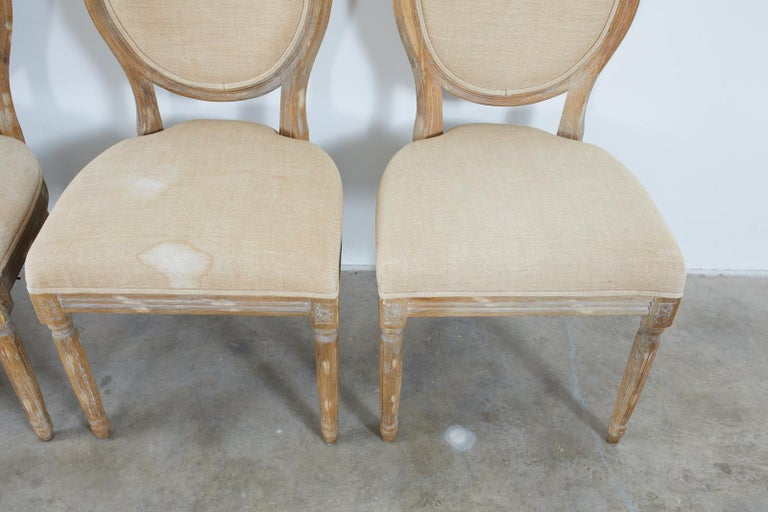Set of Ten French Louis XVI Style Oak Dining Chairs For Sale 11