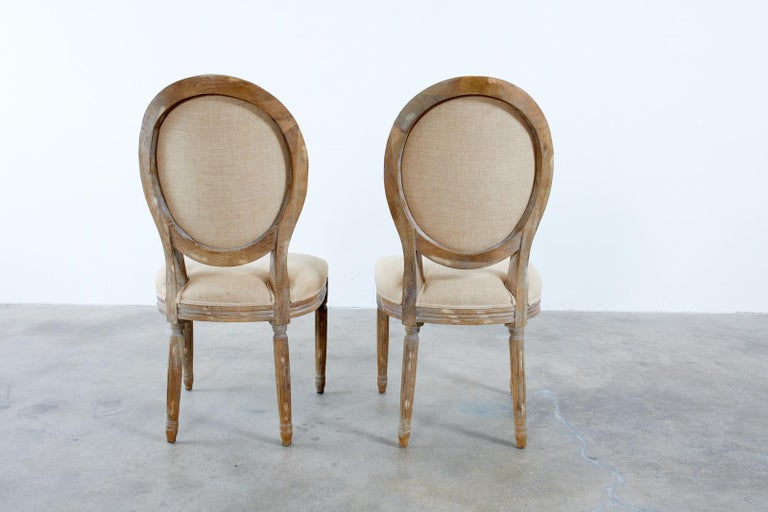 Set of Ten French Louis XVI Style Oak Dining Chairs For Sale 12