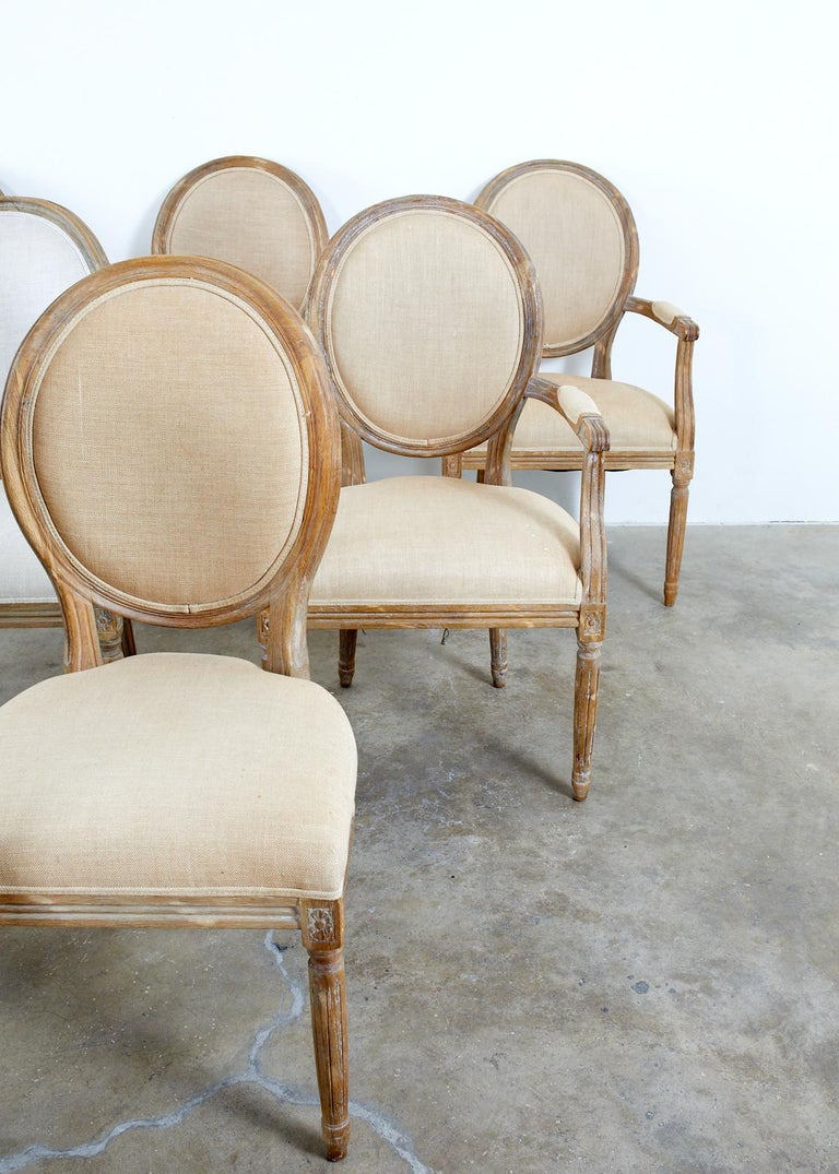 20th Century Set of Ten French Louis XVI Style Oak Dining Chairs For Sale